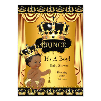 Royal Prince Baby Shower Black Gold Ethnic Boy Card