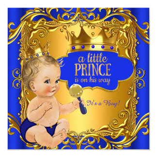 "Royal Prince Baby Shower Blue Gold Rattle Blonde 5.25"" Square Invitation Card"