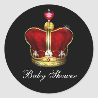 Royal Prince Baby Shower Classic Round Sticker