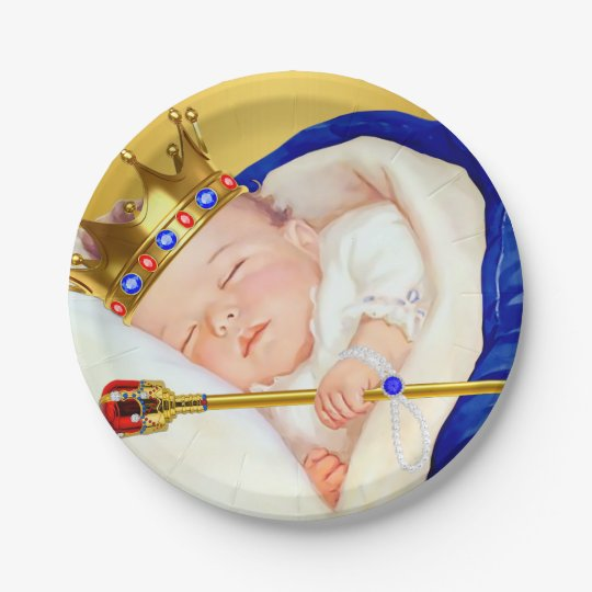 Royal Prince Boy Baby Shower Paper Plate