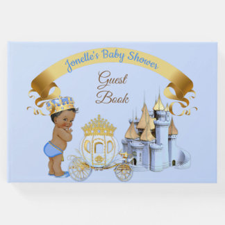 Royal Prince Castle Carriage Blue Gold Boy Guest Book