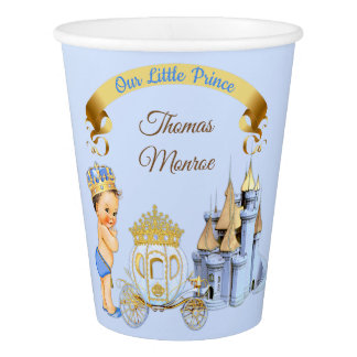 Royal Prince Castle Carriage Blue Gold Boy Paper Cup