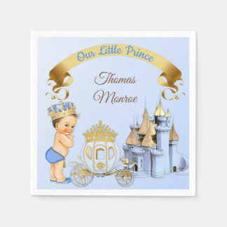 Royal Prince Castle Carriage Blue Gold Boy Paper Napkin