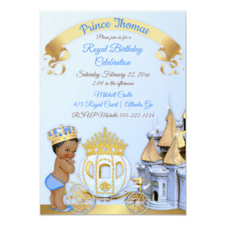 Royal Prince Castle Carriage Blue Gold Boy Photo Card