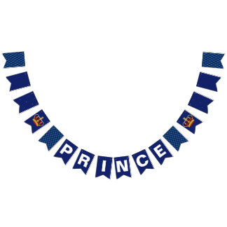 Royal Prince Crown & Royal Blue Baby Shower Bunting Flags