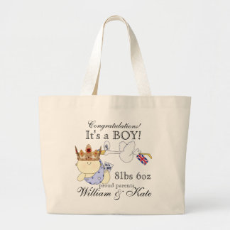 Royal Prince!-It's a Boy-William & Kate Large Tote Bag