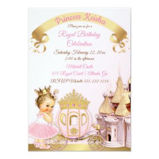 Royal Princess Castle Carriage Pink Gold Girl Card