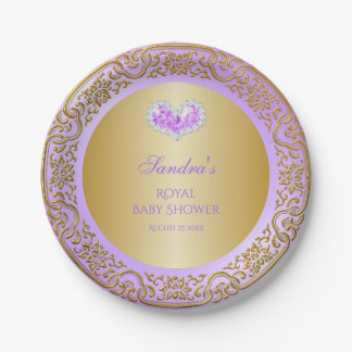 Royal Princess Lavender Gold Diamond Heart Gem Paper Plate