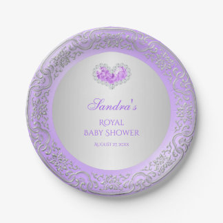 Royal Princess Lavender Silver Diamond Heart Gem Paper Plate