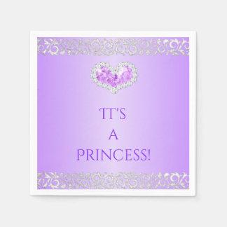 Royal Princess Lavender & Silver Diamond Heart Paper Napkins