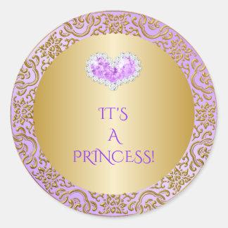 Royal Princess Lilac & Gold Diamond Heart Gem Classic Round Sticker