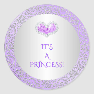 Royal Princess Lilac & Silver Diamond Heart Gem Classic Round Sticker