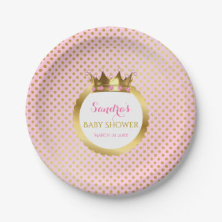 Royal Princess Pink Gold Jewelled Crown 7 Inch Paper Plate