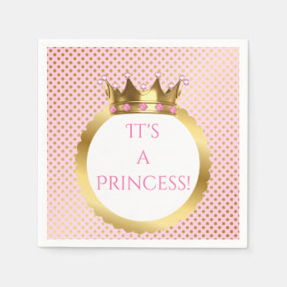 Royal Princess Pink Jewelled Gold Crown Dots Paper Napkin