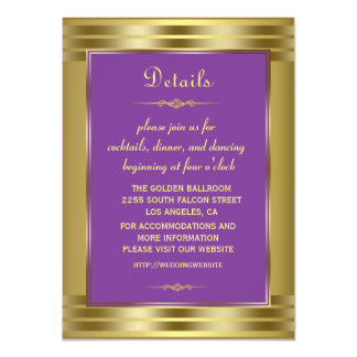 Royal Purple and Gold Baby Wedding Details Card