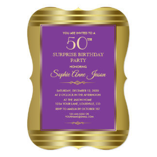Royal Purple and Gold Birthday Party Invite