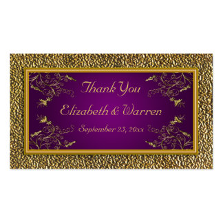 Royal Purple and Gold Floral Wedding Favor Tag Business Card