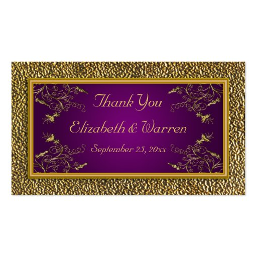 Royal Purple and Gold Floral Wedding Favor Tag Business Card Template