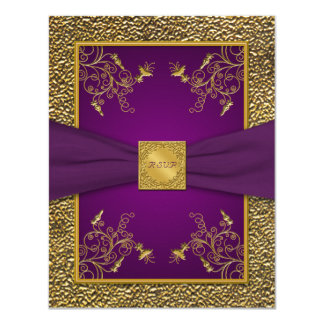 Royal Purple and Gold RSVP Card
