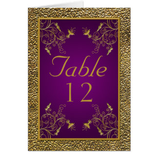 Royal Purple and Gold Table Card