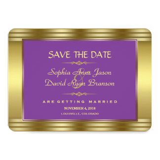 Royal Purple and Gold Wedding Save the Date Card
