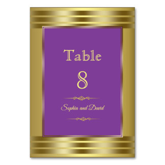 Royal Purple and Gold Wedding Table Number