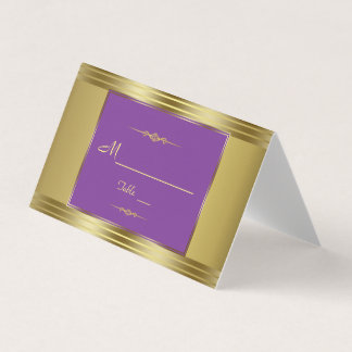 Royal Purple and Gold Wedding Table Number Place Card