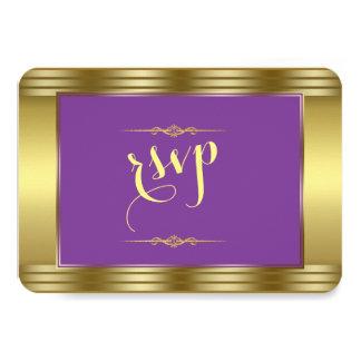 Royal Purple and Gold Wedding Wedding RSVP Card