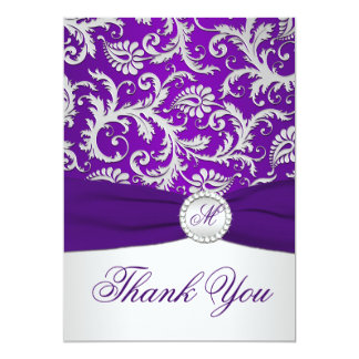 Royal Purple and Silver Damask Thank You Card