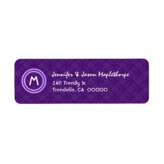 Royal Purple  and White Modern Monogram A001a