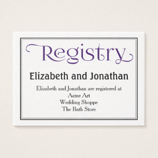 Royal Purple and White Wedding Registry Card