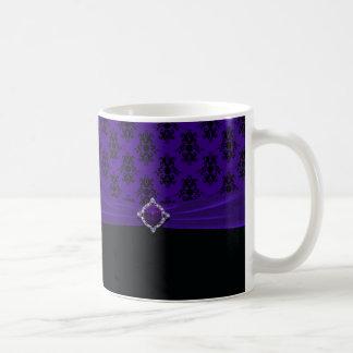 Royal Purple & Black Damask Coffee Classic White Coffee Mug