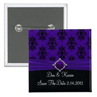 Royal Purple & Black Damask Date 2 Inch Square Button