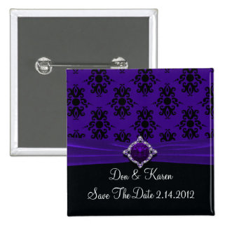 Royal Purple & Black Damask Date Pinback Buttons