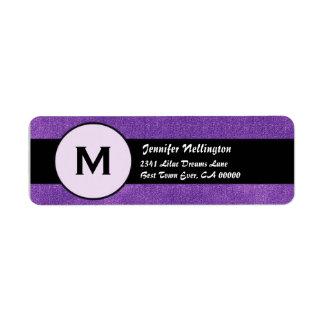 Royal Purple Black Wedding Monogram M300 Return Address Label
