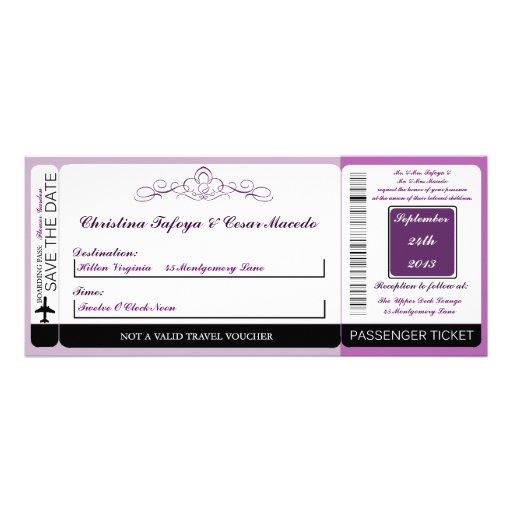 Royal Purple Crow Boarding Pass Wedding Invitation