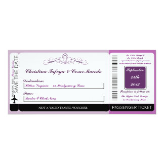 Royal Purple Crow Boarding Pass Wedding Invitation