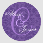 Royal Purple Damask Wedding ANY Monogram V01 Round Stickers