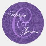 Royal Purple Damask Wedding Custom Monogram V01 Round Sticker