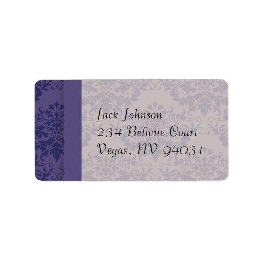 Royal Purple Damask Wedding Label