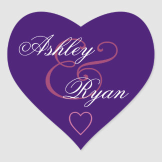 Royal Purple Envelope Seal Wedding Heart Sticker