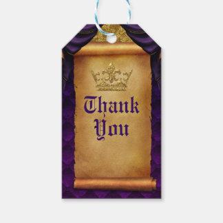 Royal Purple & Gold Drapes Scroll Wedding Favor Gift Tags