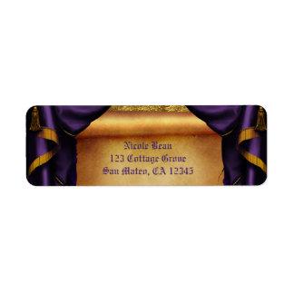 Royal Purple & Gold Drapes Scroll Wedding Party