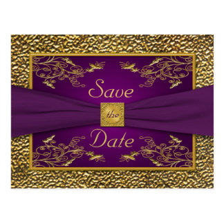 Royal Purple, Gold Floral Save the Date Postcard