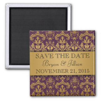 Royal Purple & Gold Regal Damask Save the Date Square Magnet