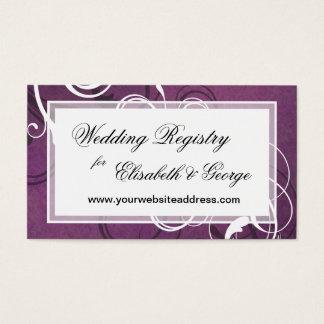 Royal Purple Grunge Damask Elegant Wedding Business Card