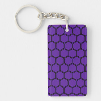 Royal Purple Hexagon 3 Double-Sided Rectangular Acrylic Keychain