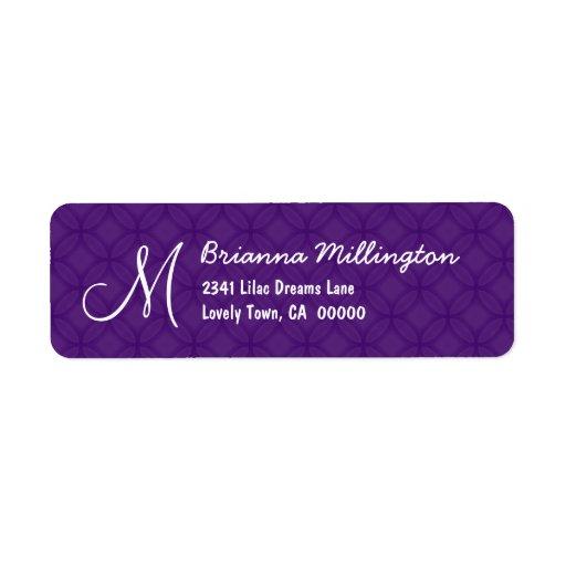 Royal Purple Monogram M Address Label A004