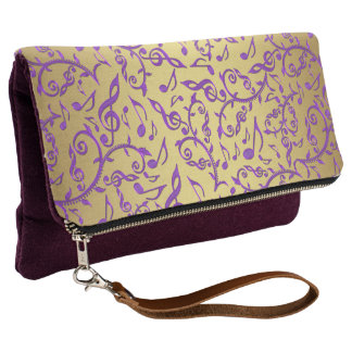 Royal Purple Music Notes On Gold Clutch Purse Bag