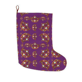Royal Purple Queen of Hearts Gold crown tiara Large Christmas Stocking